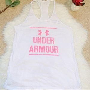 Under Armour pink white workout yoga gym tank